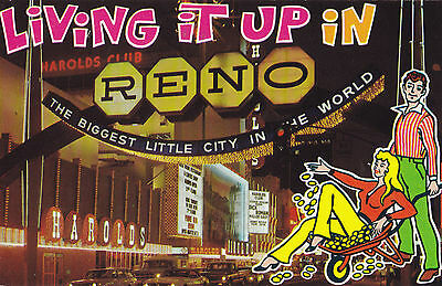 Harold's Club Virginia Street Living it up in RENO Nevada USA Postcard