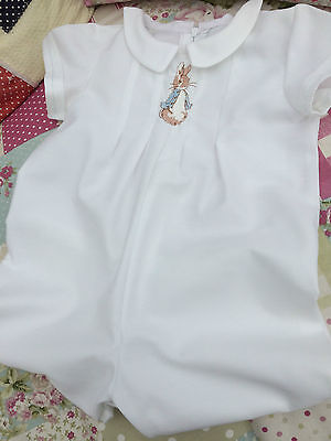 Baby Clothes Peter Rabbit -  White Traditional Christening Short Length Romper