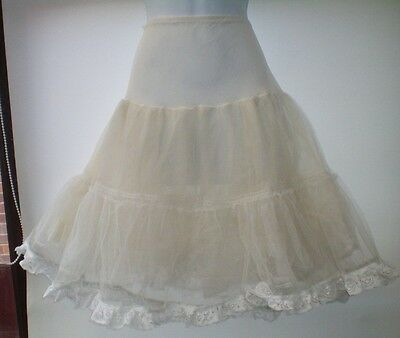 Size 10-12 White Vintage Net Petticoat Lace Trim Full Rockabilly Retro Vgc