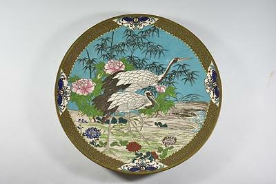 Antique Cloisonne Plate Charger With 2 Cranes, Bamboo And Flowers
