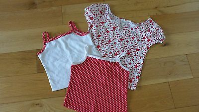 3 X Girls Red / White Mix Strappy, Smock Tops, age 1.5 to 2 yrs