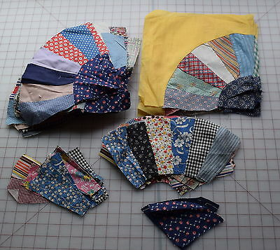 63 1920-50's Grandmother's Fan quilt blocks, huge collection of fabrics