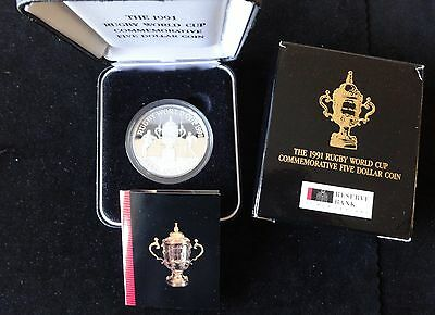 1991 Silver Proof New Zealand $5 Coin Box's + Coa Rugby World Cup Webb Ellis Cup