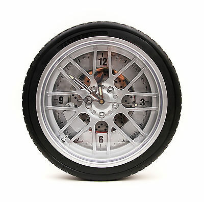 "Large Wheel Rim Tire Wall Clock BBS Style Rubber Tire 14"" Diameter + Mini Clock"