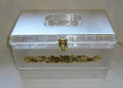Vintage Large Clear Plastic Sewing Box With Flower Decal,tray
