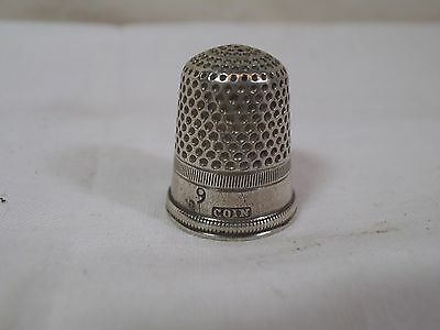 Antique 19th Century  Coin Silver Thimble Size 9