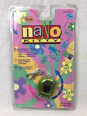 NEW 1997 Playmates Nano Kitty Electronic Virtual Pet Green LCD Toy SEALED HTF