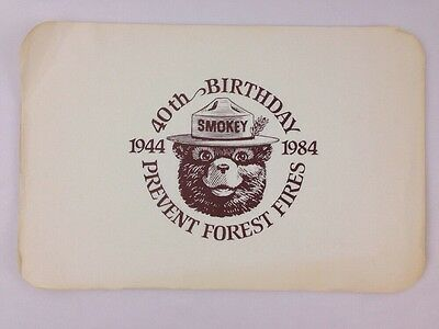 Smokey the Bear 40th Birthday 1944 1984 Prevent Forest Fires 30 Paper Placemats