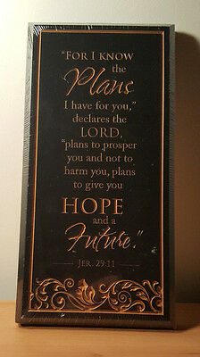 P. Graham Dunn Carved Wood Black Plaque  Jeremiah 29:11 NEW IN PLASTIC
