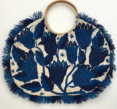 Vintage 70s Beige Blue Wool Embroidered  Floral Bamboo Handle Cotton Hand Bag