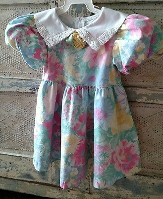 Vintage Multi-Color Floral Dress Girls Size 2T