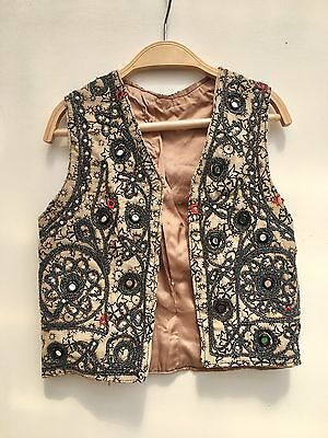 Vintage 70s Girls Taupe Indian Cotton Embellished Waistcoat Age 6 7