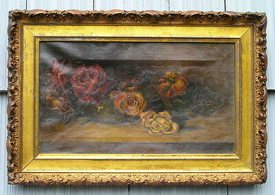 Rare Aged Antique Painting of Roses Gold Gilt Ornate Edge Picture Frame Lovely