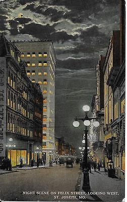 Night Scene on Felix Street Looking West St. Joseph MO NICE not postally used