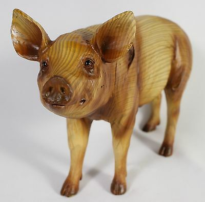 PIG FAUX WOOD CARVING FIGURE Statue Farm Animal Art NEW Hog Boar Piglet Resin