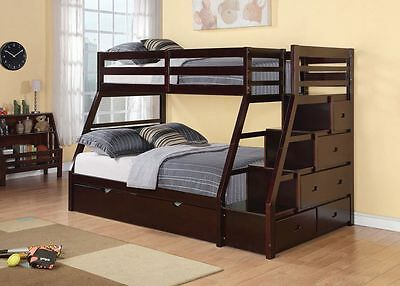 Espresso Finish Jason Twin Over Full Trundle Bunk Bed with Stairs