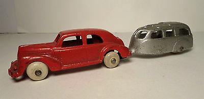 1930s Hubley Cast Iron Red Sedan & Silver Travel Trailer Arcade AC Williams
