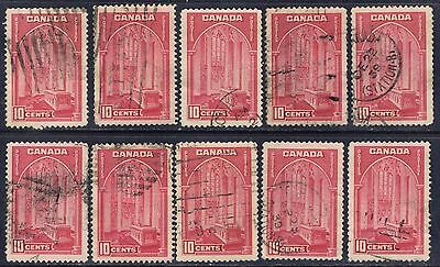 Canada #241a(1) 1938 10 cent carmine rose Memorial Chamber 10 Used