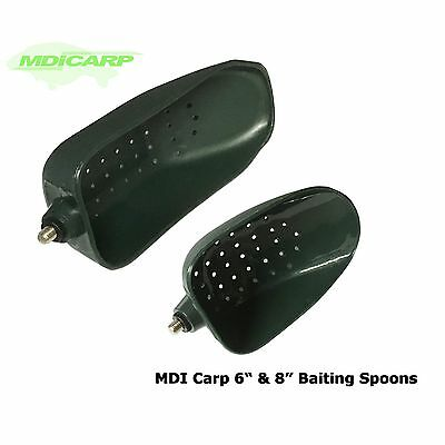 """MDI Carp Green Baiting Spoons 6"""" & 8"""" with Locking Nuts"""