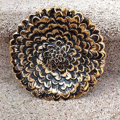 "Beautiful Stangl Black Gold 10"" Flower Dish"