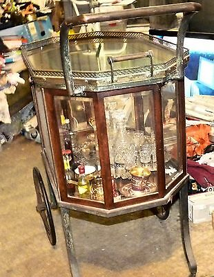 1920s ANTIQUE TEA TROLLEY WITH SILVER TRAY AND GLASSES