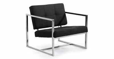 Modern 1950 Cube Chair, Charcoal Cashmere Wool /Stainless Steel