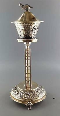 UNIQUE STERLING SILVER 925 TALL BIRD HOUSE BESAMIM SPICE TOWER JUDAICA 123.8g