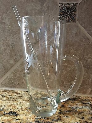 Vintage Barware Etched Glass Martini Cocktail Pitcher With Handle Glass Stirrer