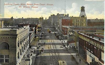 dwn Main Street from Court House Ft Worth TX nice postcard postally used in 1912