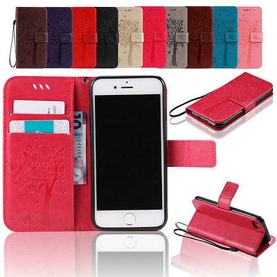 For iPhone SE 6s 7 Plus Case Shockproof Leather Card Wallet Stand Strap Cover