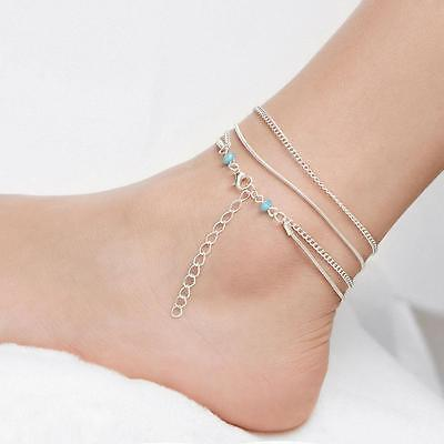 Pretty Beads Silver Plated Multi-layer Anklet Ankle Chain Barefoot Foot Jewelry