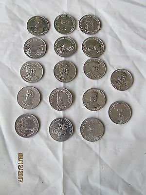 17 Vintage Sunoco Oil Aluminum Coins 5 Different Series Presidents Places Facts