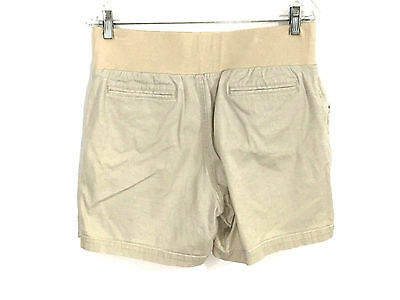Maternity Shorts In Due Time Beige Tan Khaki Belly Band Stretch Womens Small S