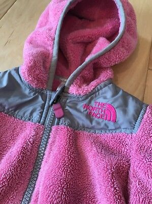 The North Face Pink & Gray Fuzzy Soft Fleece Hoodie Zip Jacket Infant Girl 18-24