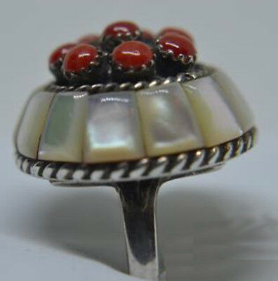 Best! Zuni Lee & Mary Weebothee Signd Ring Cluster, Mosaic Inlay Coral MOP Sz 7