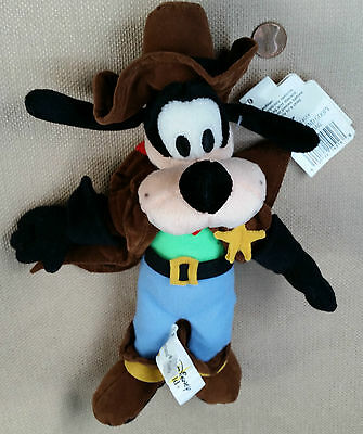 "Rare Disney 10""  Plush FRONTIERLAND GOOFY BEAN BAG Sheriff Plush NWT HTF"
