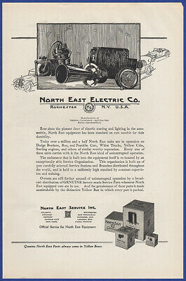 Vintage 1922 NORTH EAST ELECTRIC Co. Car Parts Horn Automotive Print Ad 20's