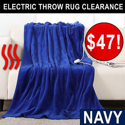 NAVY SALE Washable Heated Electric Throw Rug Snuggle Blanket 11 Heat Settings