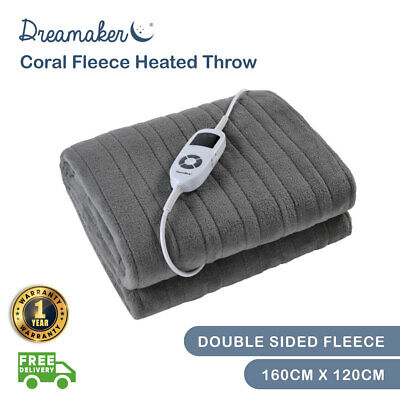 SILVER GREY Heated Electric Throw Rug Snuggle Blanket 9 Heat Settings Gray SALE