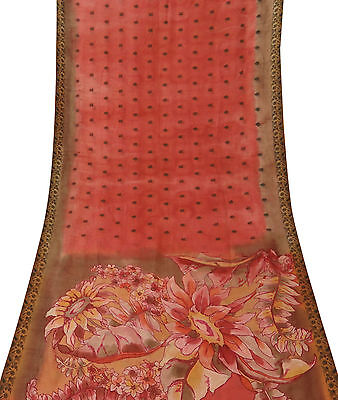 Indian Floral Printed Ethnic Vintage Pure Silk Saree Salmon Used Fabric Sari 5YD