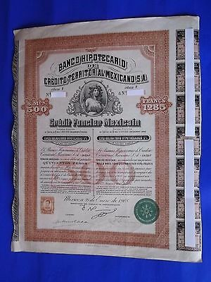 Rare!! Banco Hipotecario Mexicano 500 Pesos With 7 Coupons
