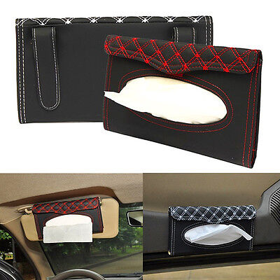 Paper Napkin Holder Box Embroidery Pattern Tissue Case Cover For Car Sun Visor