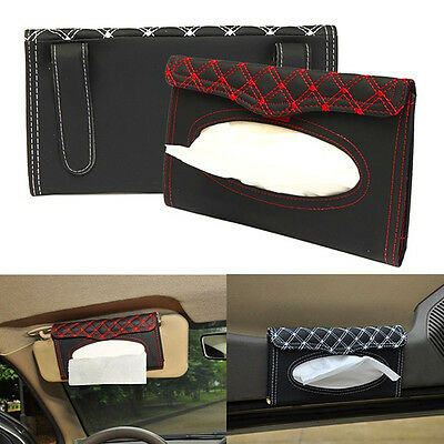 Luxury Car Auto Sun Visor Tissue Box Auto Clip Holder Paper Napkin PU Hot Sale