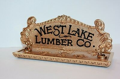 NCR Top Sign West Lake Lumber Co. with Antique Brass Cash Register Top.