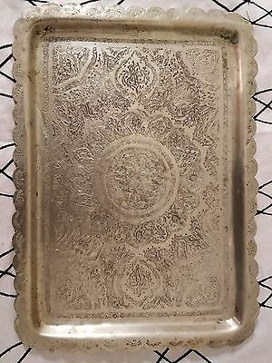 Persian Islamic Middle Eastern Qajar Tray, Antique Vintage Etched Dish