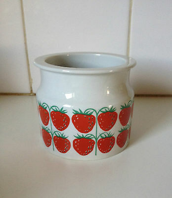 Arabia Finland Large Strawberry Jam Pot Vintage 1969 Scandinavian Design Retro
