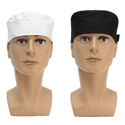 Black White Mesh Top Skull Cap Catering Chefs Kitchen Hat w/Adjustable Strap