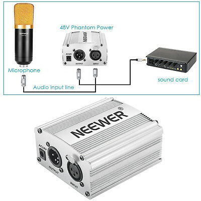 Neewer 48V Phantom Power Supply Silver with Adapter and One XLR Audio Cable
