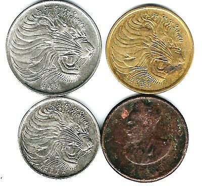 4 different world coins from ETHIOPIA