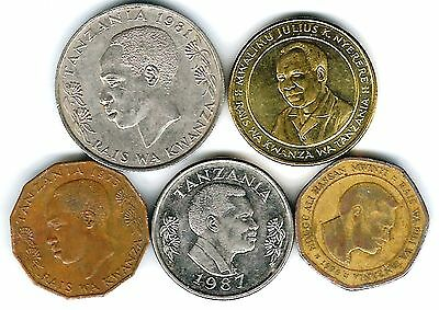 5 different world coins from TANZANIA